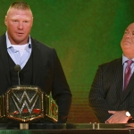 WWE champion Brock Lesnar (L) speaks during a WWE news conference as his advocate Paul Heyman looks on at T-Mobile Arena on October 11, 2019 in Las Vegas, Nevada. Lesnar will face former UFC heavyweight champion Cain Velasquez and WWE wrestler Braun Strowman will take on heavyweight boxer Tyson Fury at the WWE's Crown Jewel event at Fahd International Stadium in Riyadh, Saudi Arabia on October 31.